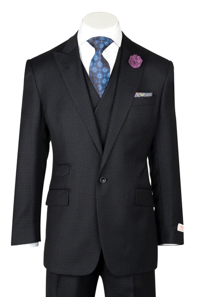 ROMA Black Chain Design  Wide Leg, Pure Wool Suit & Vest by Tiglio Rosso RF1047/1  Tiglio - Italian Suit Outlet