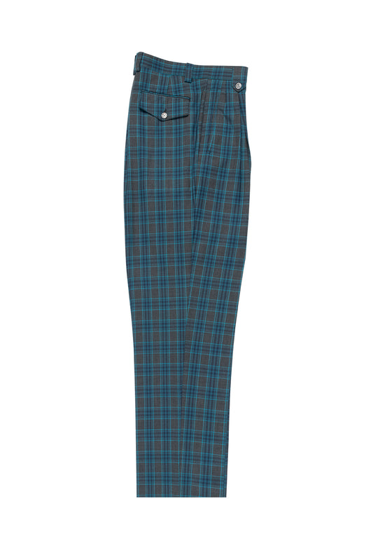 Slate Gray with Navy Blue and Turquoise Plaid/Windowpane Wide Leg, Pure Wool Dress Pants by Tiglio Luxe RF2637/5
