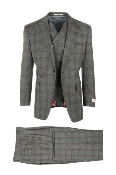 San Giovesse Light Gray with Brown Windowpane Wide Leg, Pure Wool Suit & Vest by Tiglio Rosso RF2654/1  Tiglio - Italian Suit Outlet