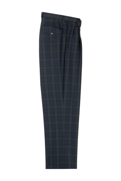 Navy Blue with Green Windowpane Wide Leg, Pure Wool Dress Pants by Tiglio Luxe RF2696/8  Tiglio - Italian Suit Outlet