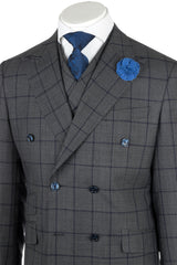 EST Medium Gray with Navy Blue Windowpane Wide Leg, Pure Wool Suit & Vest by Tiglio Rosso RG8878F/488/1  Tiglio - Italian Suit Outlet