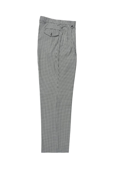 Black and White Check Pattern Wide Leg, Pure Wool Dress Pants by Tiglio Luxe RS5224/1  Tiglio - Italian Suit Outlet