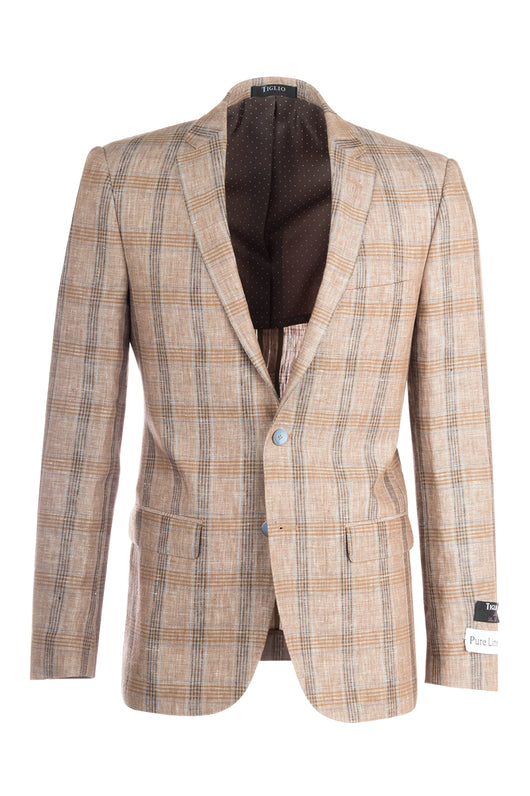Sienna Tan with Gray and Brown Lines, Windowpane Slim Fit, Linen Jacket by Tiglio Luxe RS5628/B  Tiglio - Italian Suit Outlet
