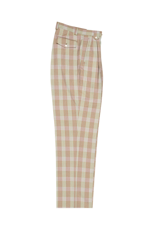Tan with Green and Pink Windowpane Wide Leg, Pure Wool Dress Pants by Tiglio Luxe RS6301/2