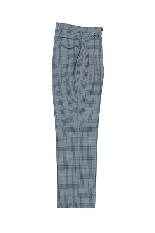 Gray with Green and Navy Plaid/Windowpane Wide Leg, Pure Wool Dress Pants by Tiglio Luxe RS6371/1  Tiglio - Italian Suit Outlet