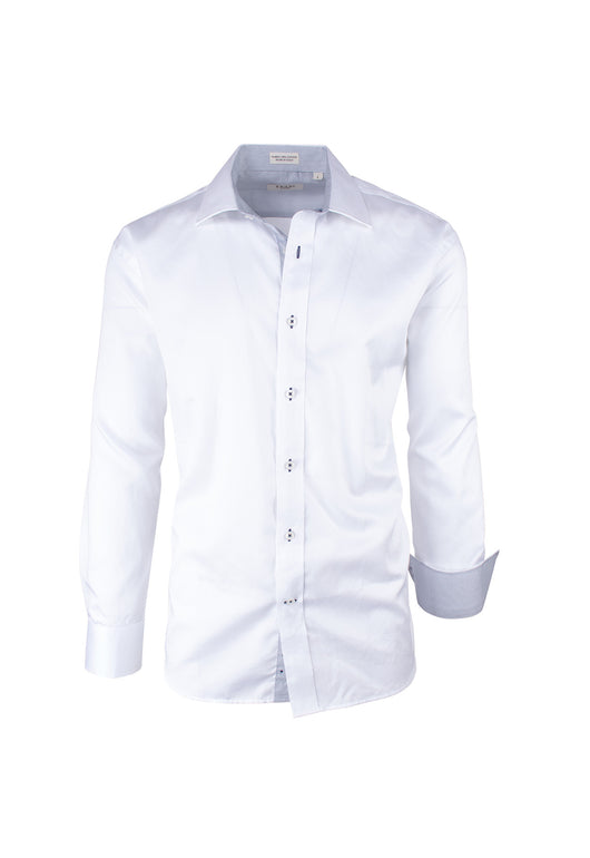 Solid White Modern Fit Sport Shirt by Tiglio Sport SATEEN/1  Tiglio - Italian Suit Outlet