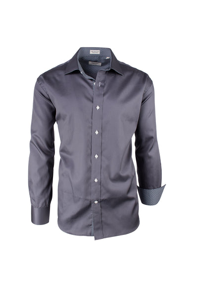 Solid Gray Modern Fit Sport Shirt by Tiglio Sport SATEEN/7  Tiglio - Italian Suit Outlet
