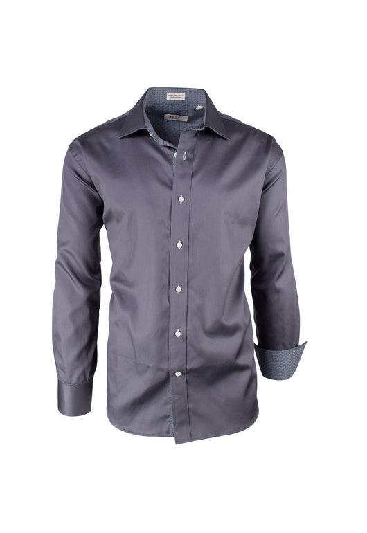 Solid Gray Modern Fit Sport Shirt by Tiglio Sport SATEEN/7
