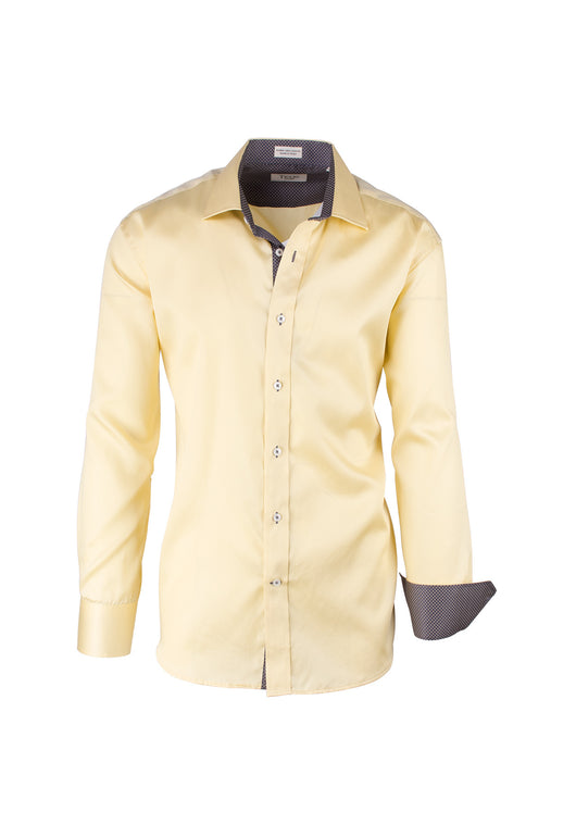 Solid Yellow Modern Fit Sport Shirt by Tiglio Sport SATEEN/8  Tiglio - Italian Suit Outlet
