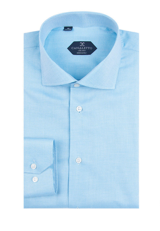 Light Blue Textured Dress Shirt, Regular Cuff, by Canaletto SirElite/250  Canaletto - Italian Suit Outlet