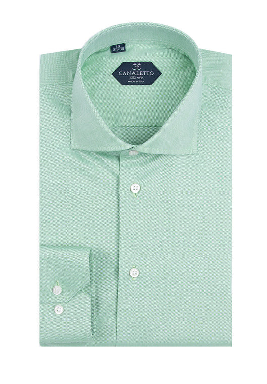 Green Textured Dress Shirt, Regular Cuff, by Canaletto  Canaletto - Italian Suit Outlet