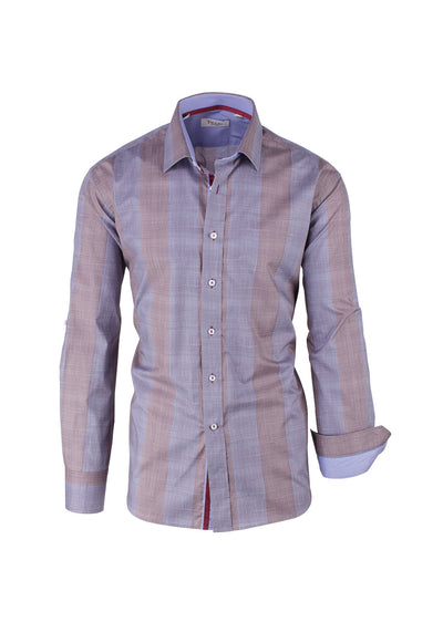 Gray and Tan Stripe Pattern Modern Fit Sport Shirt by Tiglio Sport SP1006  Tiglio - Italian Suit Outlet