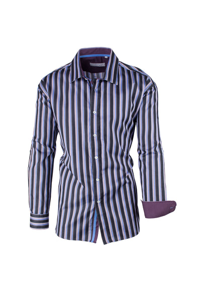 Black, Multi-Color Striped Modern Fit Sport Shirt by Equilibrio Sport SP4794  Equilibrio - Italian Suit Outlet