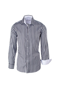 Black, White and Gray Striped Modern Fit Sport Shirt by Equilibrio Sport SP4796