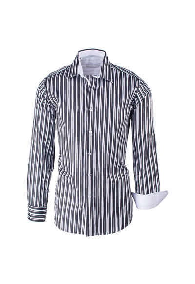 Black, White and Gray Striped Modern Fit Sport Shirt by Equilibrio Sport SP4796  Equilibrio - Italian Suit Outlet