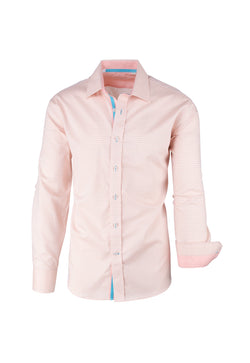 Peach and Light Blue Polka-dot Pattern Modern Fit Sport Shirt by Tiglio Sport SP8009/2  Tiglio - Italian Suit Outlet