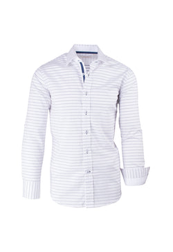 White with Navy Polka-Dot Pattern Modern Fit Sport Shirt by Tiglio Sport SP8013/2
