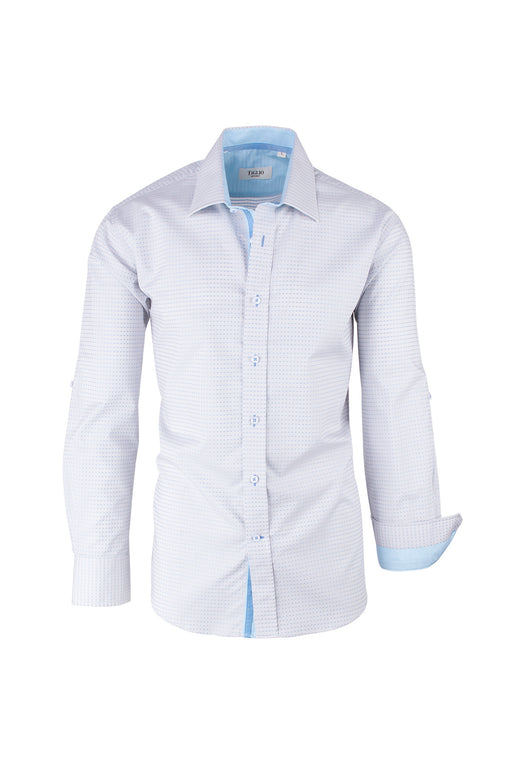 Light Gray with Light Blue Polka-Dot Pattern Modern Fit Sport Shirt by Tiglio Sport SP8013/5  Tiglio - Italian Suit Outlet