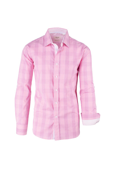 Pink, Red and White Plaid Modern Fit Sport Shirt by Tiglio Sport SP8041/1  Tiglio - Italian Suit Outlet
