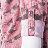 Salmon with Brown Geometric Pattern Modern Fit Sport Shirt by Tiglio Sport SP8153/2