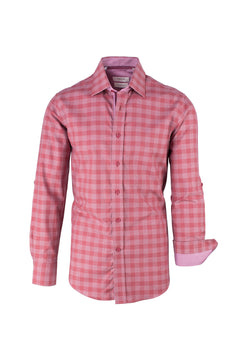 Red and Salmon Check Pattern Modern Fit Sport Shirt by Tiglio Sport SP9002