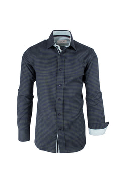 Navy Blue with Green Pattern, Modern Fit Sport Shirt by Tiglio Sport SP9006  Tiglio - Italian Suit Outlet