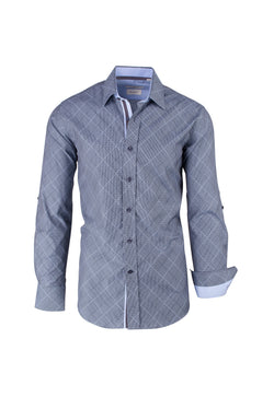 Gray with Light Gray and Black Lines, Modern Fit Sport Shirt by Tiglio Sport SP9009  Tiglio - Italian Suit Outlet