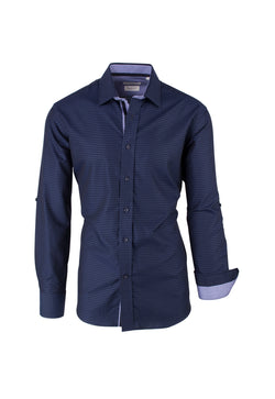 Navy Blue with Lavender Pattern, Modern Fit Sport Shirt by Tiglio Sport SP9010  Tiglio - Italian Suit Outlet