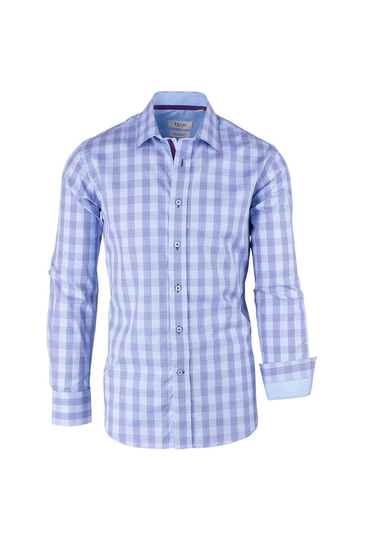 Purple and Light Blue Check Pattern Modern Fit Sport Shirt by Tiglio Sport SP9012  Tiglio - Italian Suit Outlet