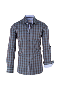 Brown and Bluish Gray Check Pattern Modern Fit Sport Shirt by Tiglio Sport SP9021  Tiglio - Italian Suit Outlet