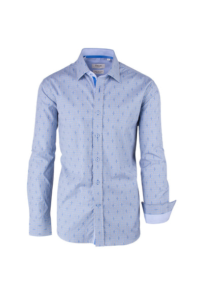Light Blue and Gray Check Pattern Modern Fit Sport Shirt by Tiglio Sport SP9023  Tiglio - Italian Suit Outlet