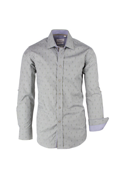 Green and Gray Check Pattern Modern Fit Sport Shirt by Tiglio Sport SP9024  Tiglio - Italian Suit Outlet
