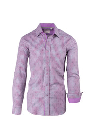 Lavender Gray Checkered Pattern Modern Fit Sport Shirt by Tiglio Sport SP9025