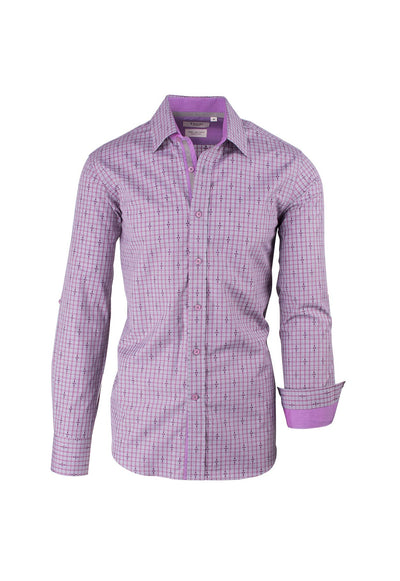 Heather Purple with Grey Check and Design Modern Fit Sport Shirt by Tiglio Sport SP9025  Tiglio - Italian Suit Outlet