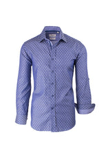 Blue with White Polka-Dot Pattern Modern Fit Sport Shirt by Tiglio Sport SP9029  Tiglio - Italian Suit Outlet