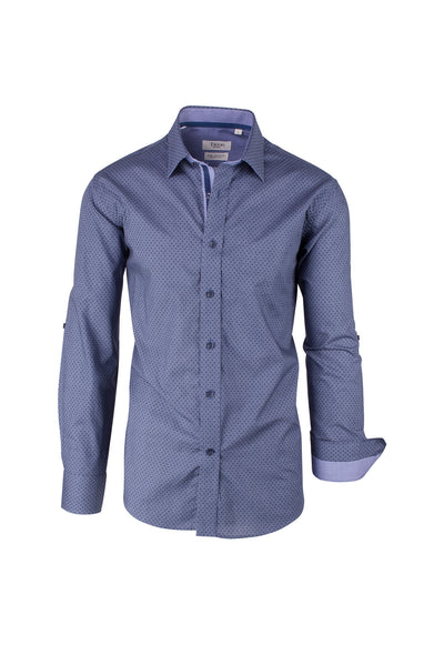 Denim Blue with Indigo Pattern Modern Fit Sport Shirt by Tiglio Sport SP9035  Tiglio - Italian Suit Outlet