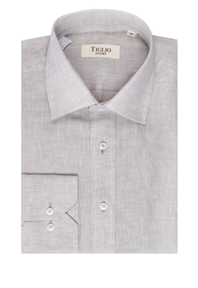 Grey Linen Modern Fit Sport Shirt by Tiglio Sport TSWH1019  Tiglio - Italian Suit Outlet