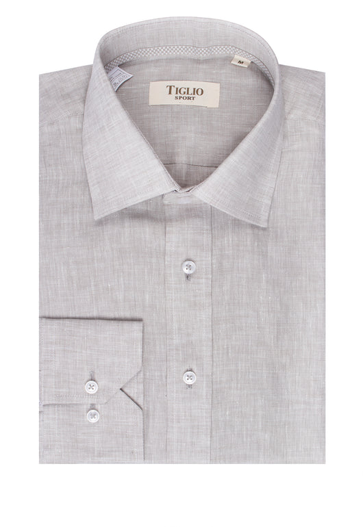 Grey Linen Modern Fit Sport Shirt by Tiglio Sport E08102/2  Tiglio - Italian Suit Outlet