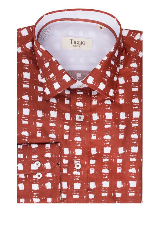 Rust and White Pattern, Modern Fit Sport Shirt by Tiglio Sport FS3000/02  Tiglio - Italian Suit Outlet