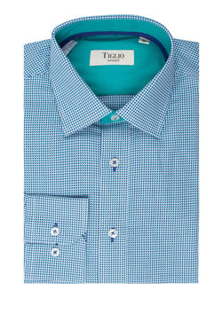Turquoise and Navy Design Modern Fit Sport Shirt by Tiglio Sport FS3419/2  Tiglio - Italian Suit Outlet