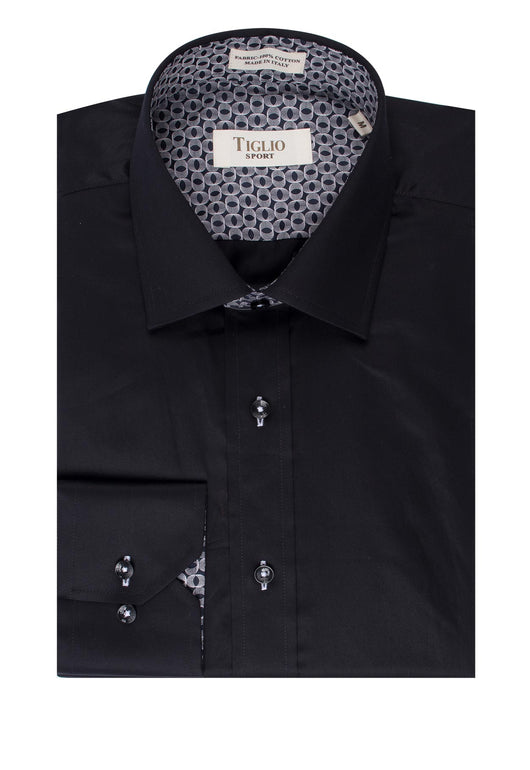 Solid Black Modern Fit Sport Shirt by Tiglio Sport SATEEN/2  Tiglio - Italian Suit Outlet