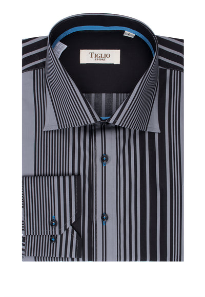 Gray and Black Stripes Modern Fit Sport Shirt by Tiglio Sport SD112240/2  Tiglio - Italian Suit Outlet