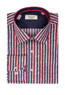 Red, White and Blue stripes with black floral design  Modern Fit Sport Shirt by Tiglio Sport SP1003