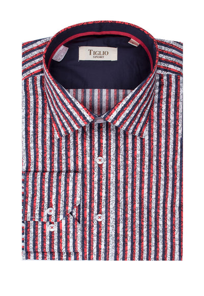 Red, Navy and White Stipe with Black Floral Design Modern Fit Sport Shirt by Tiglio Sport SP1003  Tiglio - Italian Suit Outlet