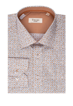 White with Tan and Black Pattern Modern Fit Sport Shirt by Tiglio Sport SP1010