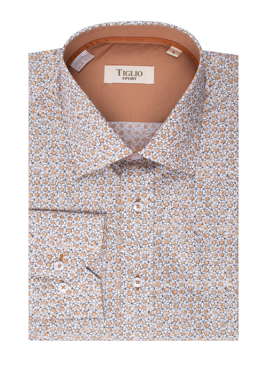 White with Tan and Black Pattern Modern Fit Sport Shirt by Tiglio Sport SP1010  Tiglio - Italian Suit Outlet