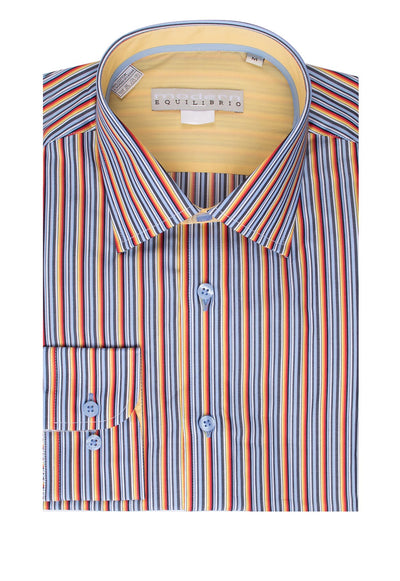 Equilibrio Sport Shirt - Brite Multi-Color Stripe Pattern, Modern Fit SP4647/4  Tiglio - Italian Suit Outlet