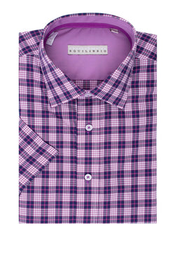 Pink and Red Plaid Modern Fit Sport Shirt by Tiglio Sport SP8049/13  Tiglio - Italian Suit Outlet