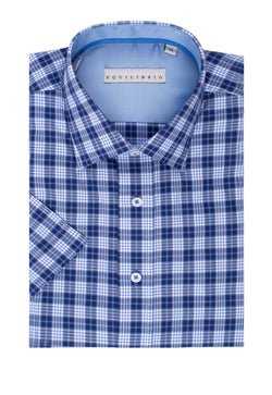 Light Blue, Navy and White Check Modern Fit Sport Shirt by Tiglio Sport SP8049/9  Tiglio - Italian Suit Outlet