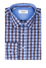 Light Blue and Brown Check Pattern Modern Fit Sport Shirt by Tiglio Sport SP8067/11  Tiglio - Italian Suit Outlet